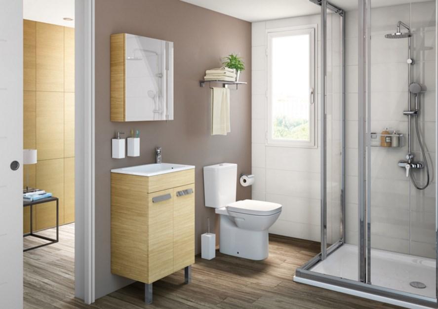 Унитаз-компакт Roca Debba с микролифтом декор ванной комнаты узкой